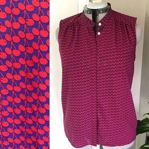 J Crew Cherry Sleeveless Button Up Blouse XL